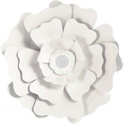Fleurs XL Papier 230gr Kit 2 P :15+25 cm BLANC  Mariage/Fêtes
