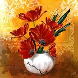 Image 3 D  Vase de Coquelicots  30 x 30 (vendue à l'unité)