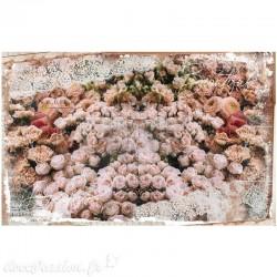 Papier Mûrier imprimé DREAM Décor tissu Roses 48,3x76,2 cm 2p