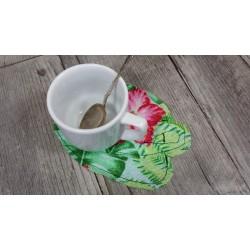 Tissu Toile jacquard Fougère sur fond Blanc cassé, vendu Par 10 cm