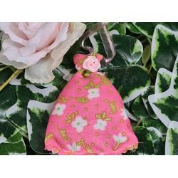 Tissu Coton imprimé Fleurs Japonaises fond Corail vendu Par 10 cm