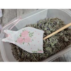 """Coupon Tissu 100 % coton imprimé """"Fleurs Blanches"""" (Fond mauve)  40 x 50"""