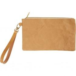 Pochette en papier faux cuir froissé brun 18 x 21 cm