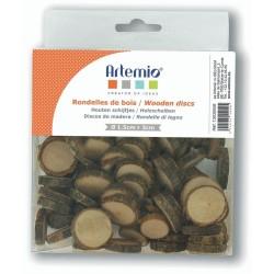 Rondelles de bois naturel mini disques Ø 1,5 à 3 cm
