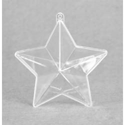 Etoile double 2 parties transparente à suspendre Ø 10 cm, 1 pièce