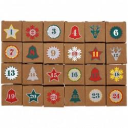 24 Boites calendrier de l'Avent  + chiffres carton léger couleur NOEL