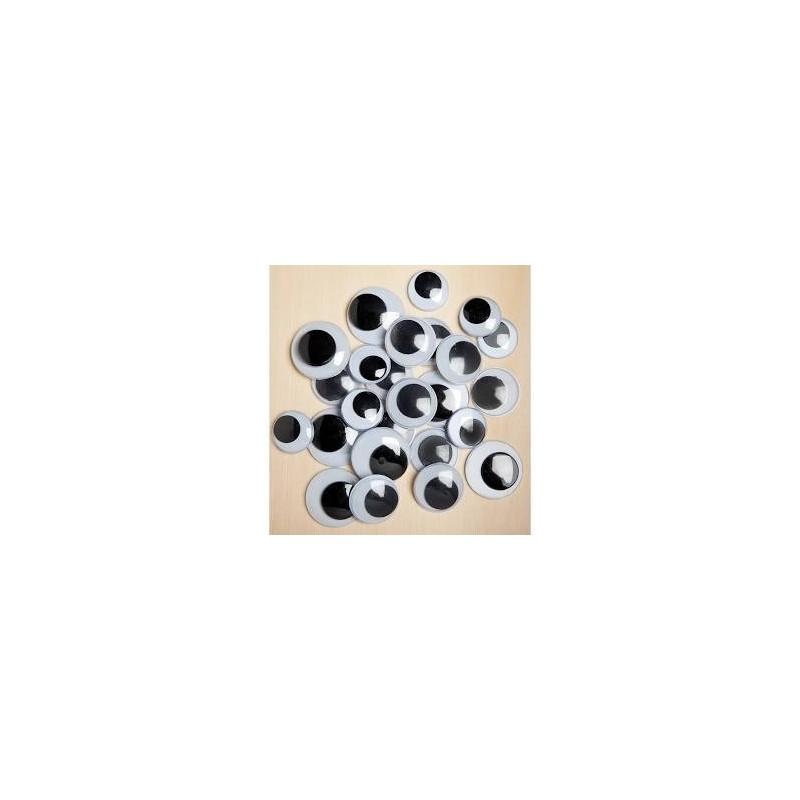 Yeux mobiles ronds à coller 10 mm sachet 100 pièces (noir & blanc)