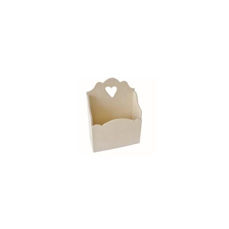 Support Bois Vide poche  avec petit coeur (130X55X170mm)