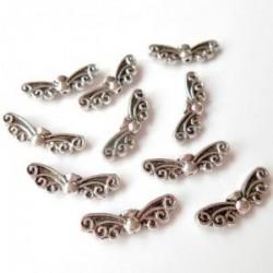 Perles Métal argenté forme ailes (sachet : 10 pièces)
