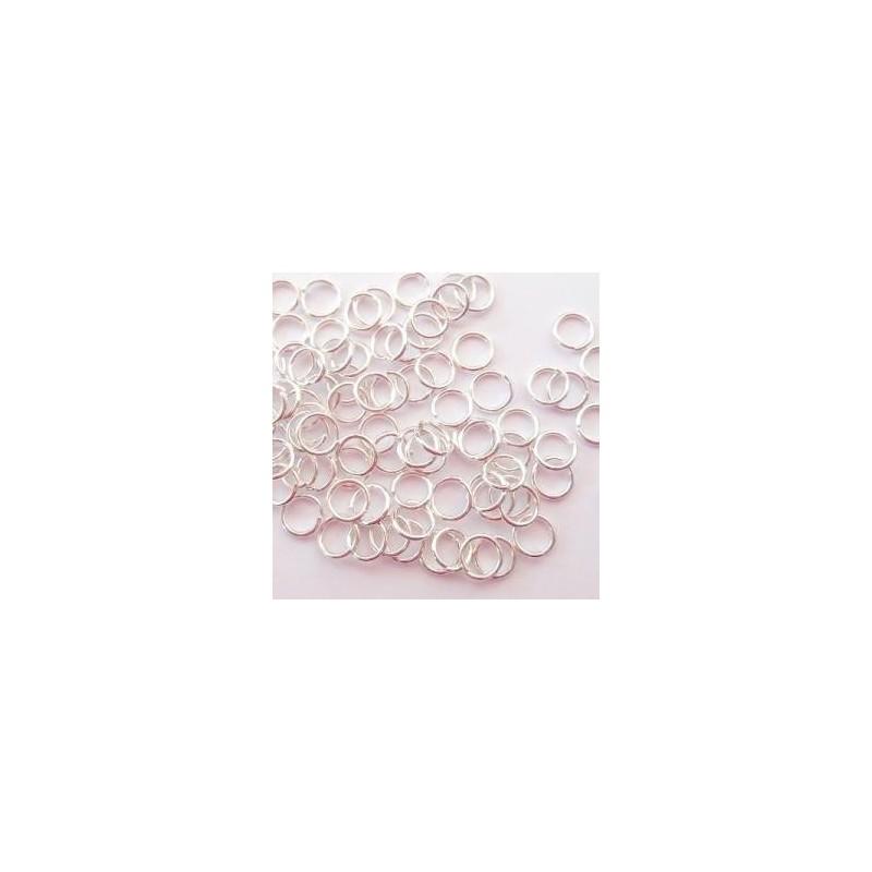 Anneaux brisés fins argentés 5 mm x 0,7 mm (sachet : 100 pièces)