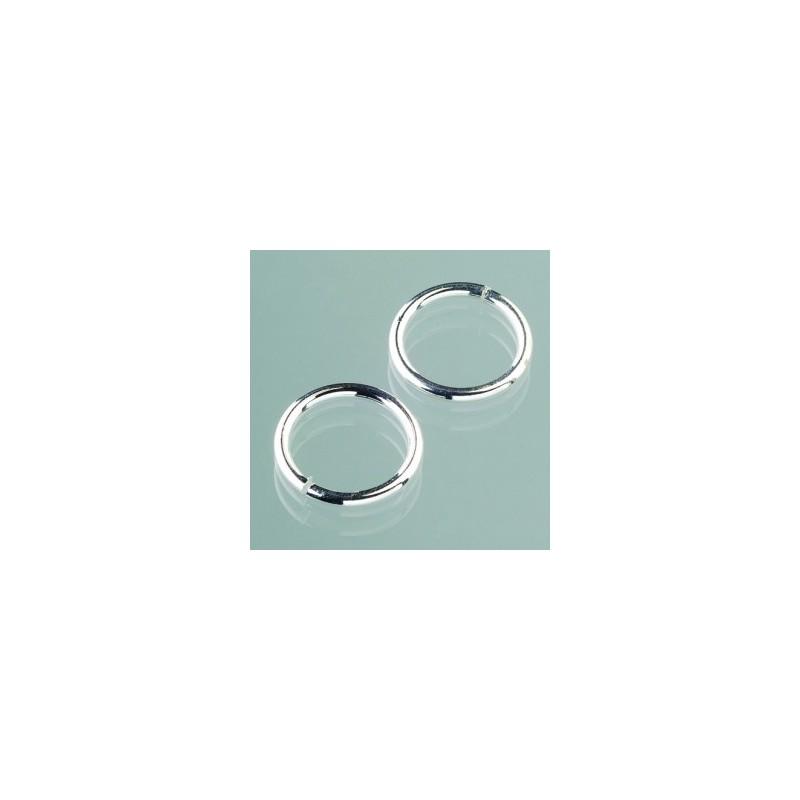 Anneaux brisés argentés grand modèle pour porte-clés ou bijoux pendentif (sachet : 10 pièces)  18 mm