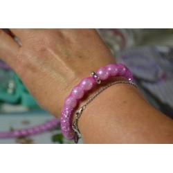 Perles  en verre cirée Luster effet nacré rose poudré 4 mm (boîte : 100 pièces)