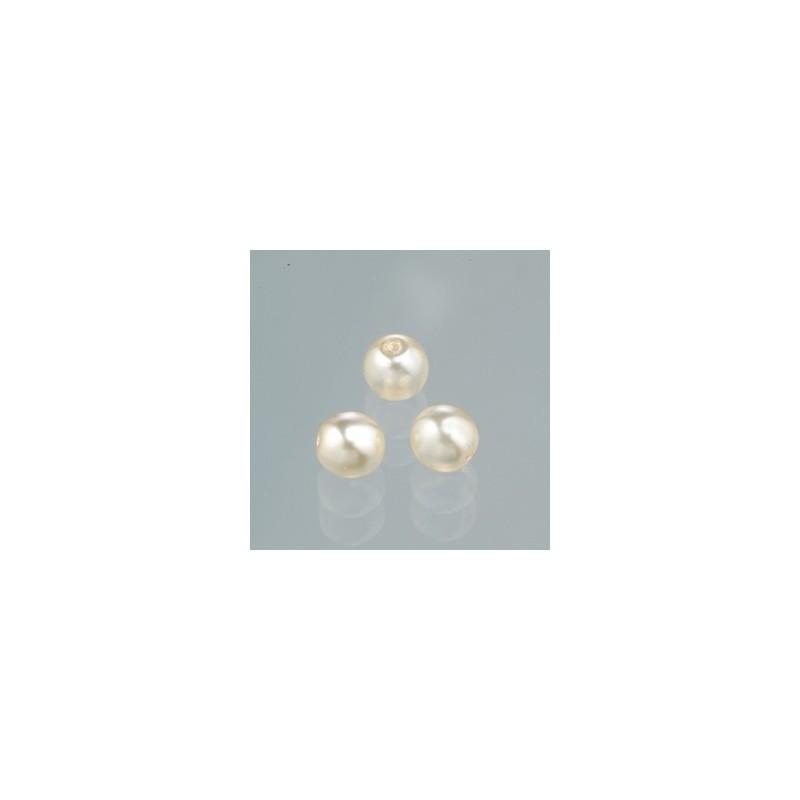 Perles  en verre cirée effet nacré blanc Neige poudré 4 mm (boîte : 100 pièces)