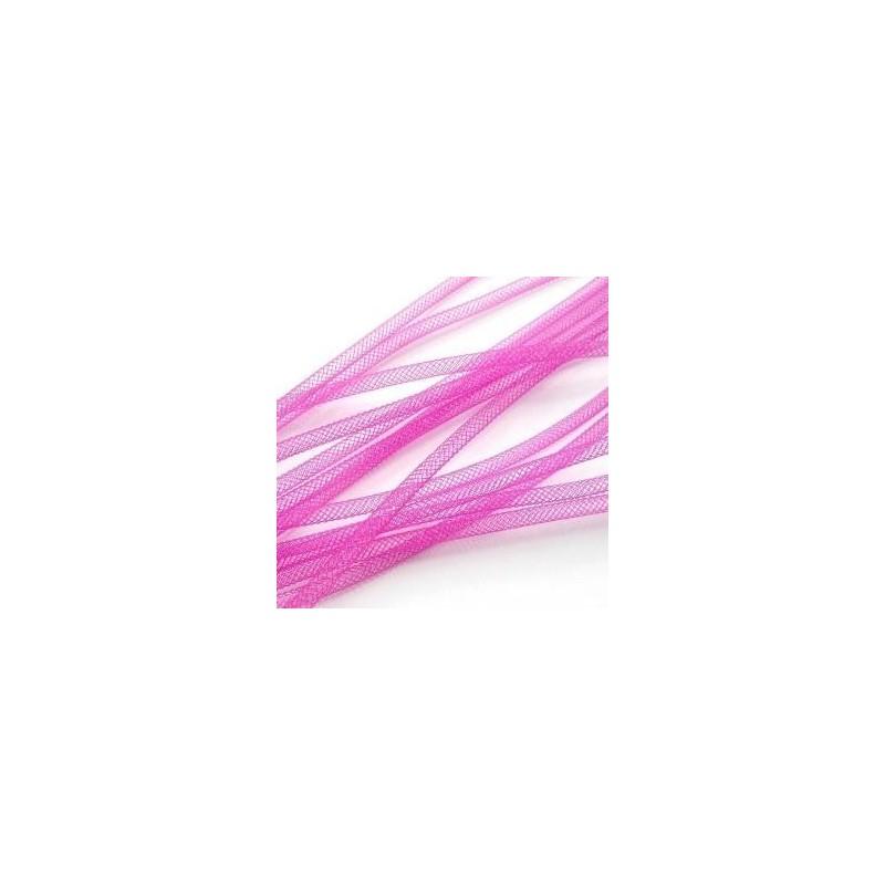 Fil Résille Tubulaire rose fushia diamètre 4 mm (Sachet : 1 m)