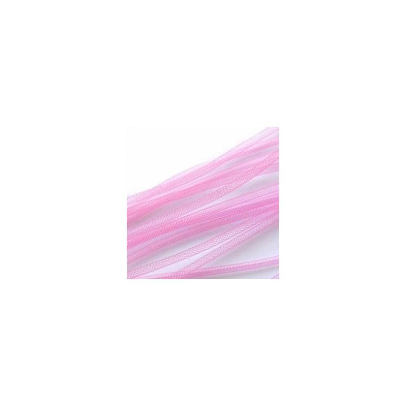 Fil Résille Tubulaire Rose  diamètre 4 mm (Sachet : 1 m)