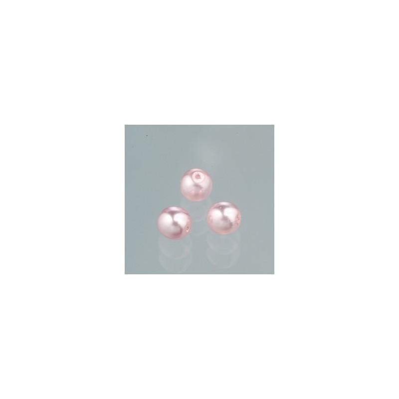 Perles rondes Luster en verre cirée effet nacré Rose poudré 8 mm (Boîte : 20 pièces)