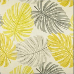 Coupon tissu Polyester tendance jaune et gris feuilles 45 X 50 CM