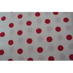 Coupon tissu 100 % coton pois couleur rouge sur fond blanc 50 cm x 50 cm