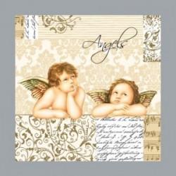 Serviette en papier motifs dorés Angelots (vendue à l'unité) 3 plis 33 cm x 33 cm