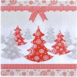 Serviette en papier motifs : Arbres de NOEL  (vendue à l'unité)
