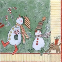 Serviette en papier motifs : Danse Bonhommes de neige (vendue à l'unité)