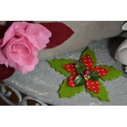 Feutrine imprimée Rouge  & Pois blancs  (vendue à l'unité)