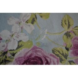 Kit trousse, tissu tissé coton épais ton dominance rose poudré avec motifs fleurs, pour trousse : 24 cm x 12 cm