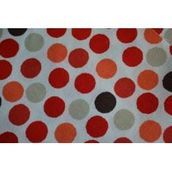 Kit trousse, tissu  coton épais ton orangé avec motifs pois, pour trousse : 24 cm x 12 cm
