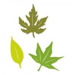 Feutrine Mix des 4 Saisons Feuilles coloris Vert  (Sachet 6 ornements)
