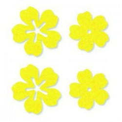 Feutrine Mix de Printemps Fleurs Jaune (Sachet 24 ornements)