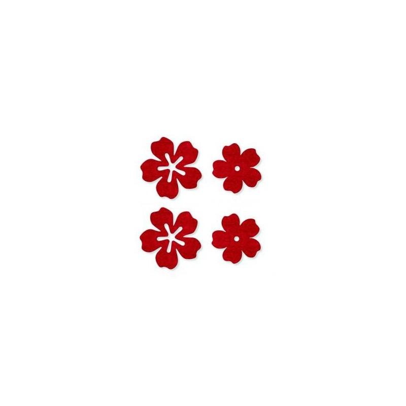 Feutrine Mix de Printemps  Fleurs rouge (Sachet 24 ornements)