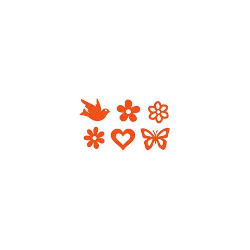 Feutrine Mix de Printemps Orange (Sachet 12 ornements)