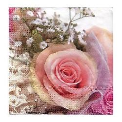 """Serviette en papier """"ROSE Romantique""""  (vendue à l'unité)"""