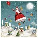 Serviette en papier motifs : Père Noël  s'envole (vendue à l'unité)