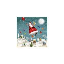 z Serviette en papier motifs : Père Noël  s'envole (vendue à l'unité)