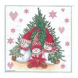 z Serviette en papier motifs  Lutins de Noël  (vendue à l'unité)