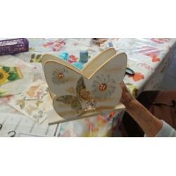 Support à décorer en Bois brut Porte Serviette forme papillon (9 x 14.5 x 6 cm)