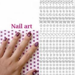 Planche stickers Peel off  Nail Art Blanc, utilisation en Carterie ou manucure