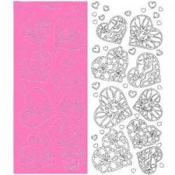 Planche stickers Peel off  Coeurs élancés Roses pour Carterie, Embellissements, & Manucure