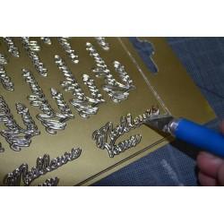 Planche stickers  Peel Off motifs Cadres Ronds Dentelle Argenté pour carterie, embellissements