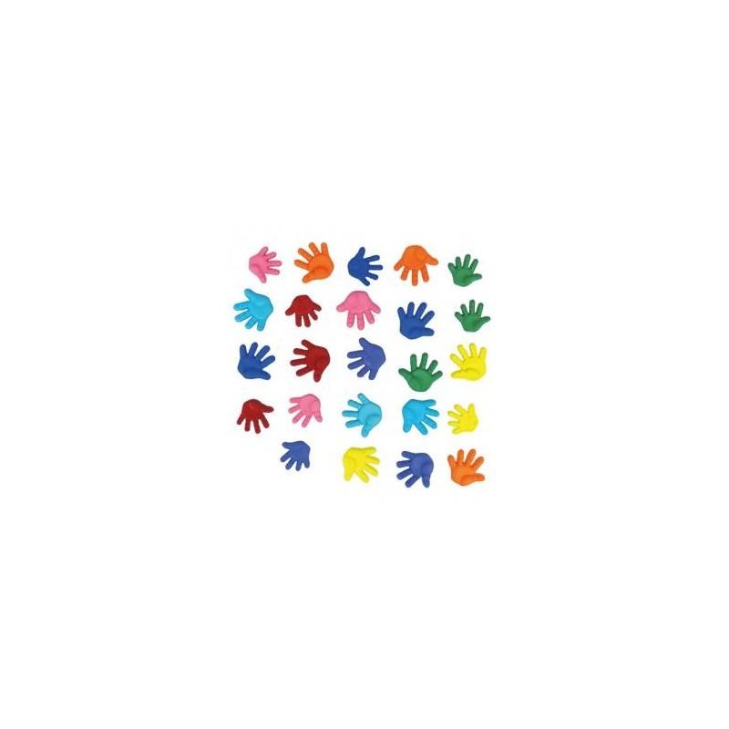 Boutons ou embellissements jolis Petites mains multicolores  (sachet 24 pièces)