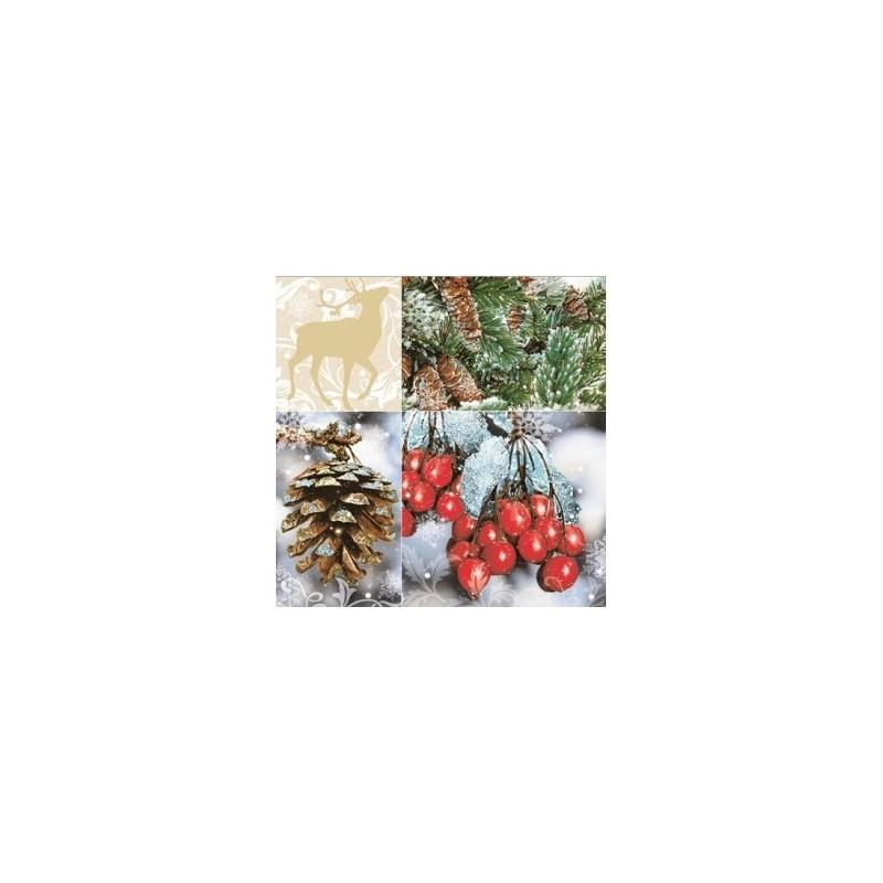 Serviette en papier motifs : Fruits des Bois  (vendue à l'unité)