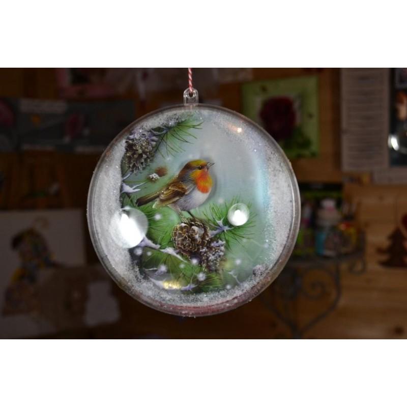 Boule décorative plastique transparente Ø 14 cm, séparable en 2 parties (vendu à l'unité)