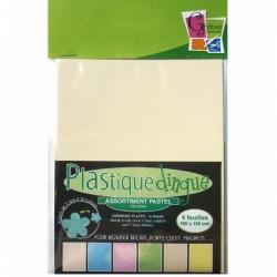 Plastique fou Coloris Pastel,  6 feuilles assorties de couleur, 10 X 13 cm