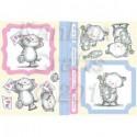 Planche images motifs 3D Prédécoupés Chatons bleu et rose
