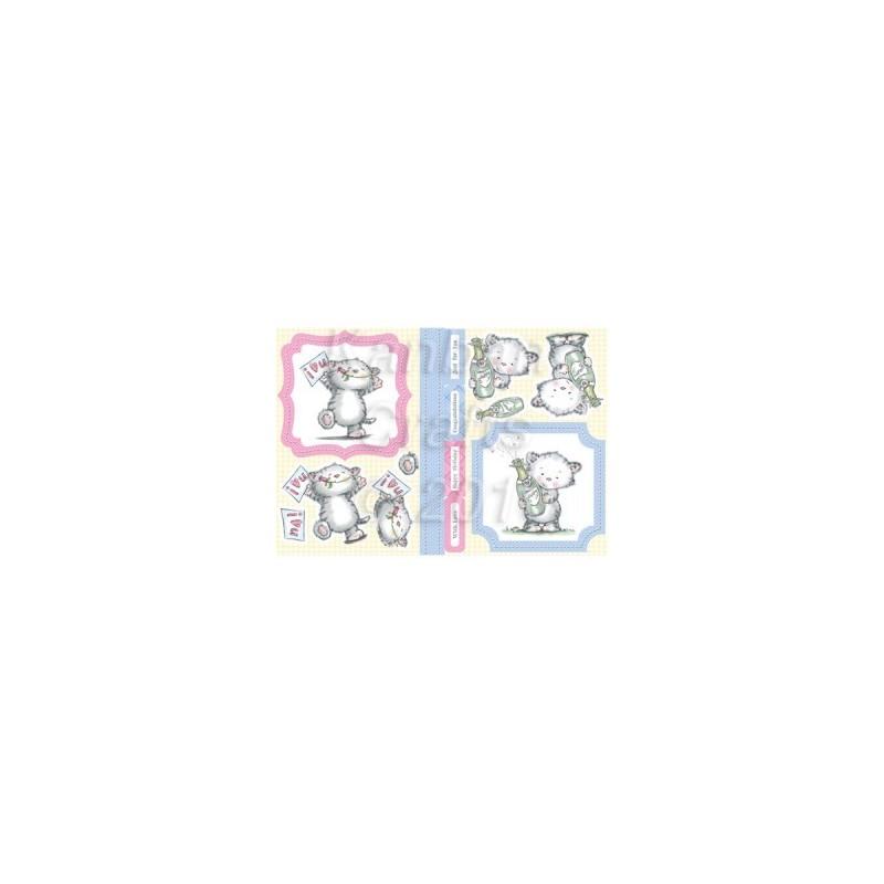 Carte 3 D Planche Prédécoupée Chatons bleu et rose (pour 2 cartes différentes Technique du 3 D )