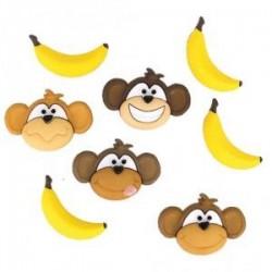 Boutons - Têtes de singe et bananes (sachet 8 pièces : 4 + 4)