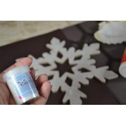 Poudre Paillettes Fines Effet Cristal, effet Givré et Scintillant DEKO ICE Coloris Blanc Cristal pot 40 Gr