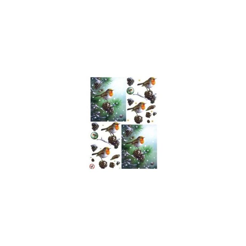 """Carte 3 D Planche Motifs 3D Prédécoupée  """"Rouge Gorge NOEL"""" à  réaliser avec la technique du 3 D"""