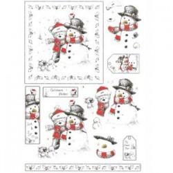Carte 3 D Planche Motifs 3D Prédécoupée NOEL Ourson et Bonhomme de Neige rouge et blanc (pour 2 cartes technique du 3D)
